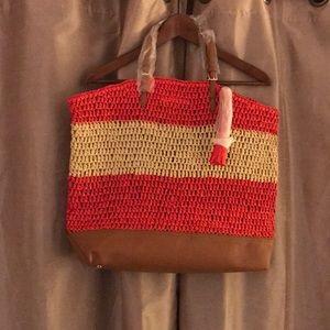 NWT Ann Taylor woven bag with tassel
